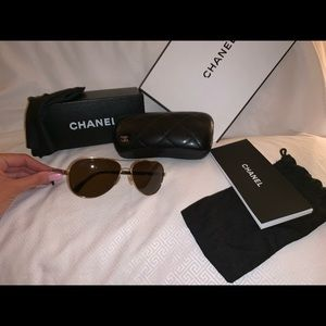 Chanel Black and Gold Aviator Sunglasses
